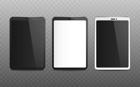Realistic tablet mockup set with blank screen, black and white mobile device with empty display isolated on transparent background, modern technology vector illustration