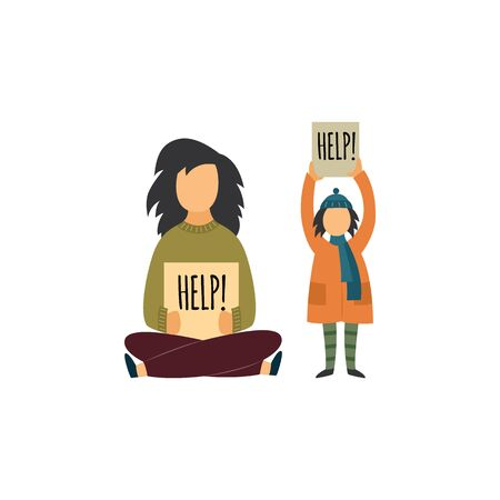 Homeless mother with her child holding cardboard tablets calling for help and begging flat vector illustration isolated on white background. Concept of social problems.