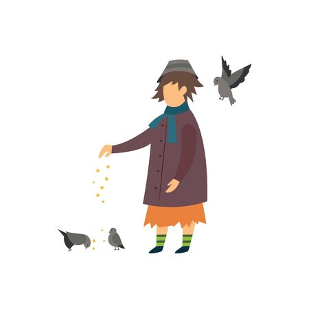 Homeless lonely woman feeding doves flat vector illustration isolated on white background. Conceptual banner of social problems such as poverty and homelessness. Ilustração