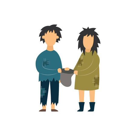 Homeless hungry couple woman and man begging flat vector illustration isolated on white background. Concept of social problems such as poverty and homelessness.