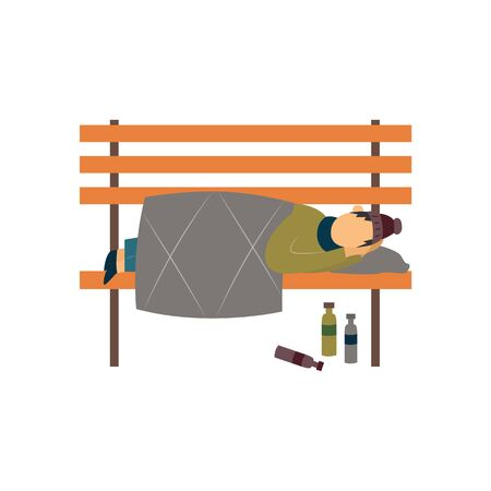 Homeless tramp or beggar sleeping on a bench flat vector illustration isolated on white background. Homelessness and poverty problems in modern society.