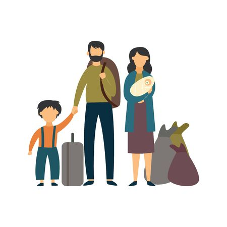 Homeless poor or stateless refugee family in bad condition flat vector illustration isolated on white background. Father, mother and a child in povetry and crisis.