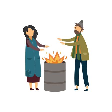 Homeless poor couple or man and woman beggars warming up around the fire during the cold weather days flat cartoon vector illustration isolated on white background. Иллюстрация