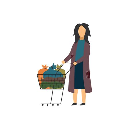 Homeless beggar woman with cart in poor condition and dirty cloth flat vector illustration isolated on white background. People in need of help in depression and crisis. Stock Illustratie