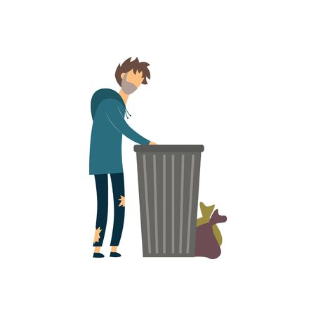 Homeless hungry beggar man digging in the garbage in search of food and clothing flat vector illustration isolated on white background. People in need of help in a crisis.