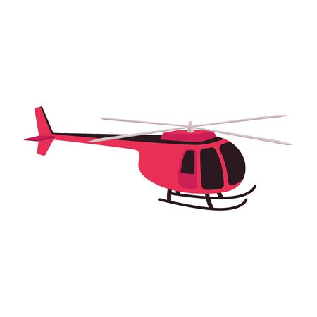 Red helicopter icon. Passenger rescue and observation aircraft. Propeller aviation and copter concept, on isolated illustration.