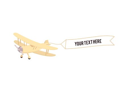 Concept of vintage propeller airplane with advertising banner sketch icon, on isolated illustration. 일러스트