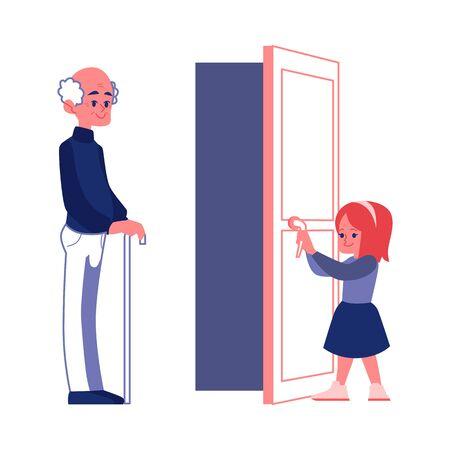 Ragazza gentile con le buone maniere aprendo la porta a un vettore piatto uomo anziano illustrazione isolato su sfondo bianco. Cortesia e concetto di etichetta.