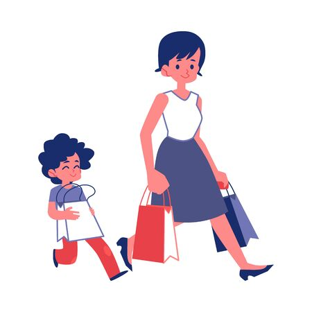 Polite child with good manners helping a woman carry shopping bags flat vector illustrations isolated on white background. Good behavior and courtesy concept. Illustration