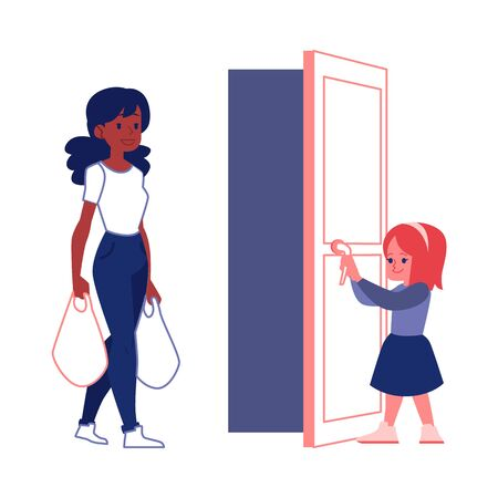 Polite child with good manners open a door for woman carrying shopping bags flat vector illustration isolated on white background. Courteous and respect to adult people.