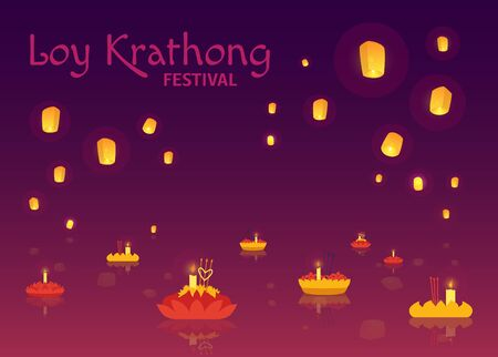 Loy Krathong festival poster- vector illustration. Illustration