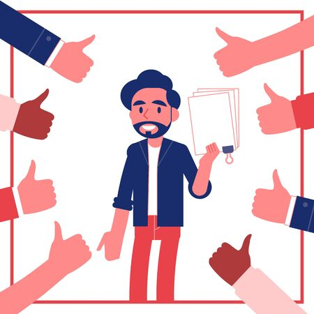 Vector young male journal employee standing smiling surrounded by thumbs up. Man with happy facial expression gets promotion, recognition for best article . Best author, excellent performance Ilustração Vetorial