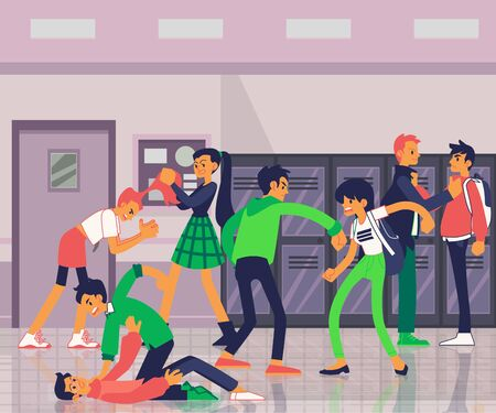 Banner with aggressive teenagers bullying and fighting flat vector illustration in the interior of the school. Violence and conflicts in the teens and children groups. Ilustracja