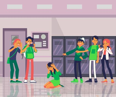 Teens or schoolboys offends a classmate girl in the interior of school flat vector illustration. Demonstration of bullying and aggression in conflict between children. Ilustracja