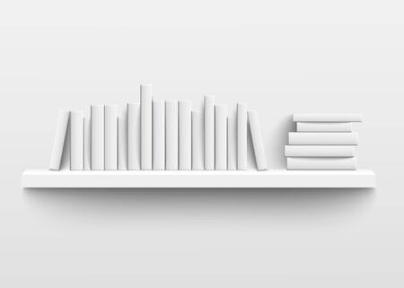 Maqueta de estante de libro blanco en la pared, diseño realista 3d de estantería minimalista con libros de tapa dura en blanco en una fila y apilados con plantillas de lomo vacías, ilustración vectorial aislada Ilustración de vector