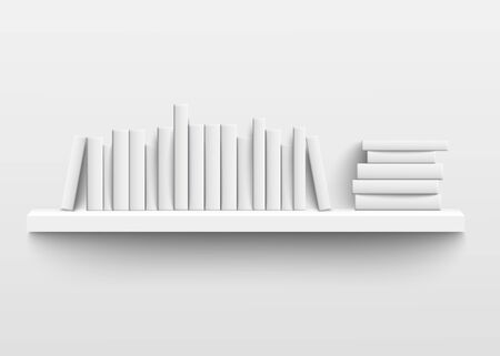 White book shelf mockup on the wall, 3d realistic design of minimalist bookshelf with blank hard cover books on a row and stacked with empty spine templates, isolated vector illustration