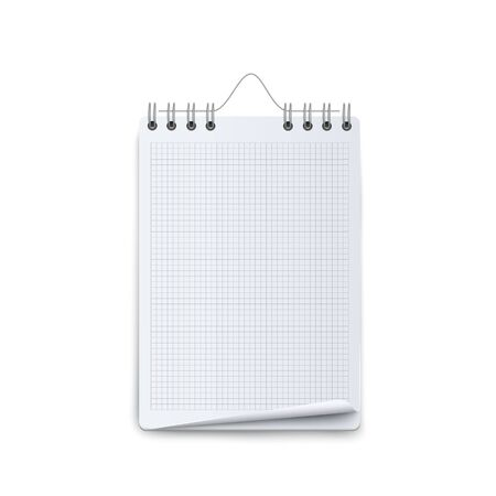 Blank calendar mockup with white graph and spiral wire binding, empty office wall organizer template design with opening curled page corner, isolated realistic vector illustration