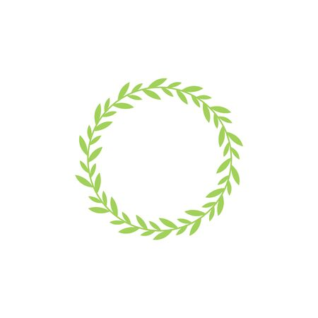 Circular laurel foliate in green vector illustration element isolated on white background.