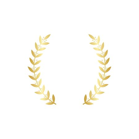 Golden wreath frame consists of two separate round gold branches and symmetric leaves, round vintage laurel symbol for champion honor or royal heraldic sign, isolated illustration