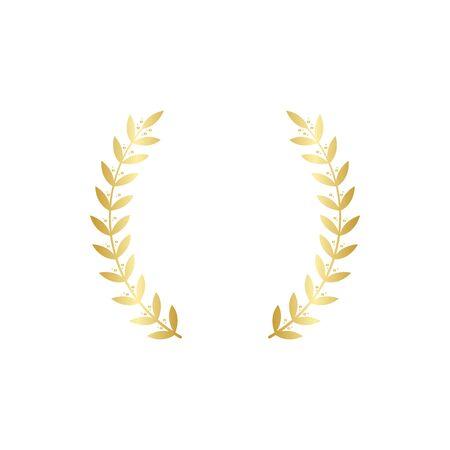 Goldener Kranzrahmen besteht aus zwei separaten runden Goldzweigen und symmetrischen Blättern, rundem Vintage-Lorbeersymbol für Meisterehre oder königliches heraldisches Zeichen, isolierte Illustration isolated Vektorgrafik