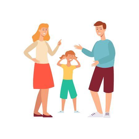 Familienkonflikt - wütende Leute streiten vor einem traurigen unglücklichen Kind. Cartoon-Charakter-Menschen - Mutter und Vater, die der weinenden Tochter Stress verursachen, flache handgezeichnete isolierte Vektorillustration
