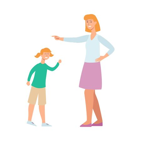 Mother angry at her child, cartoon character conflict with woman trying to discipline a young girl. Upset kid screaming while female nanny points a finger, isolated flat drawing, vector illustration Vectores