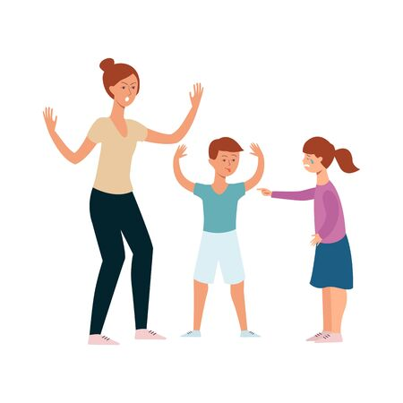 Family conflict between girl and boy siblings, angry mother screaming at arguing siblings, brother taunting and bullying sister, hand drawn cartoon characters quarrel - isolated vector illustration Illustration