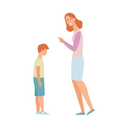 Woman angry at son, mother scolding and pointing finger at a sad kid, nanny punishing a child for poor discipline, crying boy in trouble, hand drawn flat cartoon style isolated vector illustration