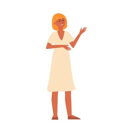 Young woman cartoon character with glasses, blonde hair and sun dress standing and smiling, happy female teenager pointing at something, isolated flat hand drawn vector illustration isolated on white background Illustration