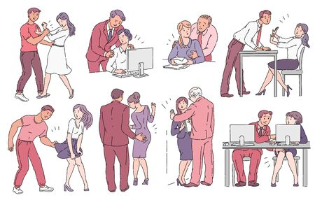 A set of inappropriate behavior or harassment in workplace, awareness concept in vector illustration. Ilustracja