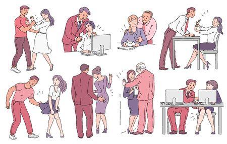 Un conjunto de comportamiento inapropiado o acoso en el lugar de trabajo, concepto de conciencia en la ilustración vectorial.
