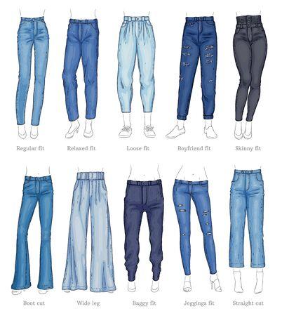 Zestaw modeli kobiece dżinsy i ich nazwy styl szkicu, wektor ilustracja na białym tle. Kolekcja jeansowych spodni lub typów spodni, casualowa odzież modowa dla kobiet