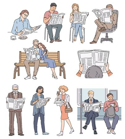 People reading newspaper in various situations set of vector men and women images illustration isolated on white background. Daily information concept icon in sketch style.