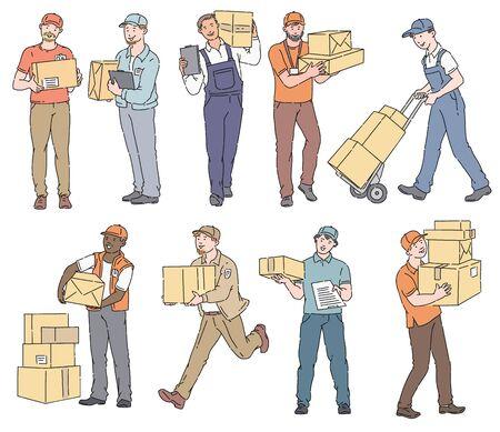 Set di personaggi dei cartoni animati dell'uomo di consegna che trasportano scatola o posta, addetti al servizio di corriere che tengono scatole di pacchetti o pacchi, illustrazione di vettore disegnato a mano di stile di schizzo del fumetto isolato su priorità bassa bianca