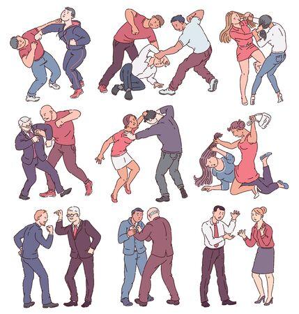 Raccolta di persone durante l'azione di combattimento, insieme di uomini e donne arrabbiati in conflitto fisico, pugni, colpi, minacciandosi a vicenda. Illustrazione vettoriale isolato a tema violenza su sfondo bianco.