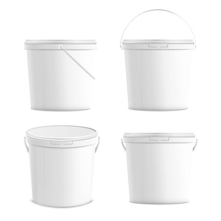 White blank plastic buckets set 3d realistic mockup vector illustration isolated on white background. Food, foodstuff or paints packaging template for product branding. Stock Illustratie
