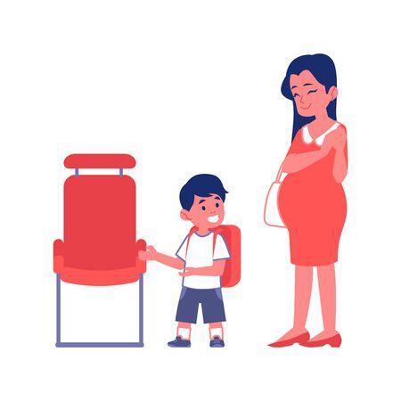 Niño educado da paso a una mujer embarazada en vector plano de transporte público ilustración aislada sobre fondo blanco. Concepto de cortesía y buenos modales. Ilustración de vector