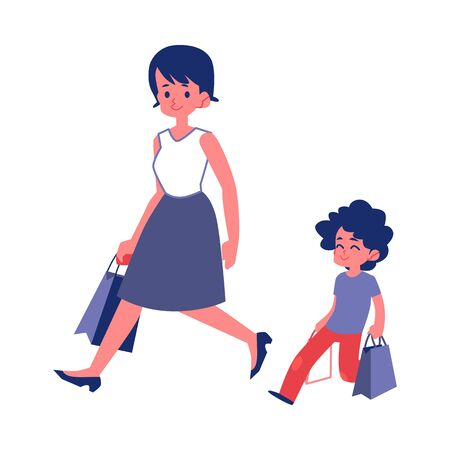 Polite child with good manners helping his mother carry shopping bags flat vector illustrations isolated on white background. Good behavior and courtesy concept.