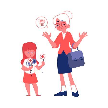 Donna anziana con le buone maniere ringraziando per un'illustrazione piana di vettore della ragazza educata sveglia del regalo isolata su fondo bianco. Buon comportamento e concetto di etichetta.