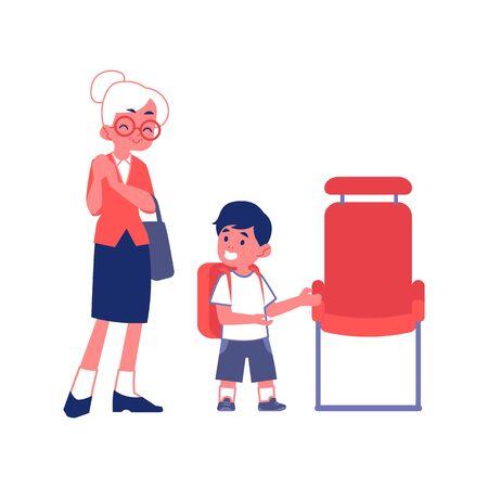 Il ragazzino educato con le buone maniere lascia il posto a un'illustrazione piana di vettore della donna anziana isolata su un fondo bianco. Cortesia e concetto di comportamento rispettoso.