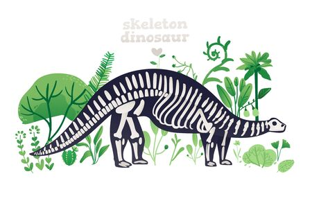 Skeleton and bones of a brontosaurus. Skeleton of a prehistoric dinosaur in flat cartoon style on green landscape with plants. Isolated vector illustration of a brontosaurus on a white background.