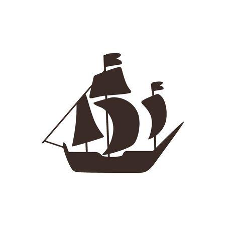 Icône de silhouette vecteur voilier vintage. Vieux voilier pour la conception marine. Mer classique, transport maritime, symbole d'aventure. Illustration isolée.