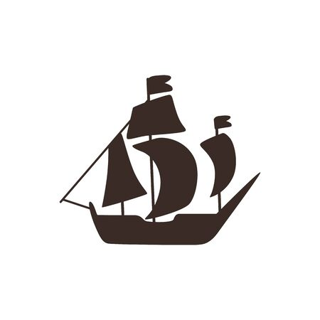 Vector vintage sailing vessel silhouette icon. Old sailboat for marine design. Classic sea, ocean transport, symbol of adventure. Isolated illustration.