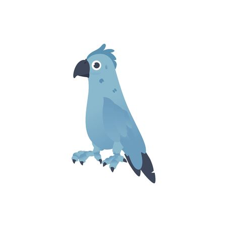 Vector blue parrot bird cartoon icon. Symbol of tropical exotic county and caribbean pirates. Wild jungle feather animal, ara. Isolated illustration