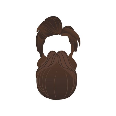 Vector pirate or hipster hair, beard with mustache photo booth prop, party costume scrapbooking decoration. Birthday, halloween party decor, retro paper mask for kids, selfie props design illustration