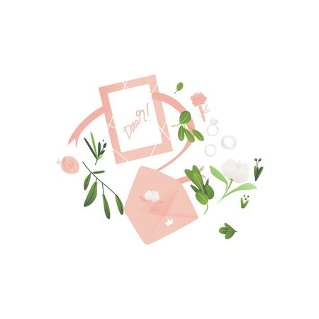 Vector wedding ceremony concept, envelope with invitation card with elegant flowers and florals. Romantic marriage composition for invitations design. Isolated illustration