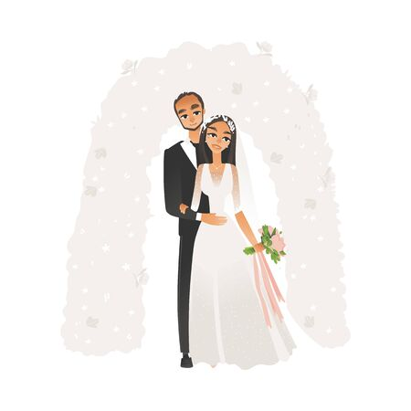 Vector bride and groom standing during wedding ceremony under altar holding flower bouquet. Marriage celebration concept, man and woman in white dress. Isolated illustration