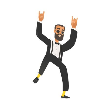 Happy dancing groomsman, man in suit with beard, tuxedo in flat cartoon style. Boss or businessman. Groomsman on wedding ceremony. Isolated vector illustration on white background.  イラスト・ベクター素材