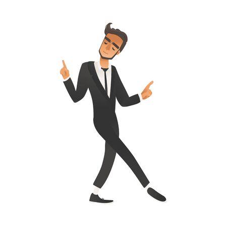 Happy dancing groomsman, man in suit, tuxedo in flat cartoon style. Groomsman on wedding ceremony, vector illustration on white background.  イラスト・ベクター素材