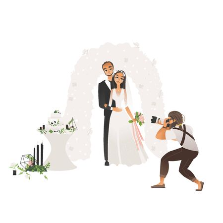 Male photographer taking pictures of wedding couple stand hugging cartoon style, vector illustration isolated on white background. Cameraman shooting groom and bride standing under ceremonial arch